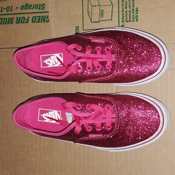 Girls Hot Pink Glitter Vans | Poshmark